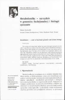 Metabolomics - a tool in functional genomics and systems biology