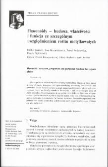 Flawonoidy - budowa, właściwości i funkcja ze szczególnym uwzględnieniem roślin motylkowatych