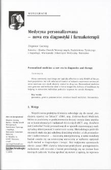 Medycyna personalizowana - nowa era diagnostyki i farmakoterapii