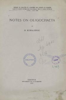 Notes on Oligochaeta = Z badań nad skąposzczetami