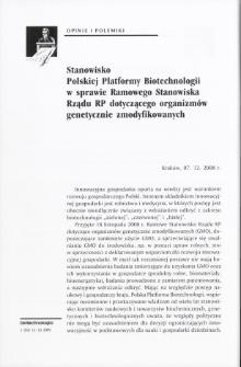 Stanowisko Polskiej Platformy Biotechnologii w sprawie Ramowego Stanowiska Rządu RP dotyczącego organizmów genetycznie zmodyfikowanych