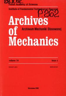 Archives of Mechanics Vol. 54 nr 4 (2002)