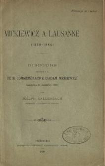 Mickiewicz a Lausanne (1838-1840) : discours prononcé a la fete commémorative d'Adam Mickiewicz (Lausanne, 24 décembre 1898)