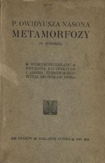 """P. Owidyusza Nasona """"Metamorfozy"""" : (w wyborze)"""