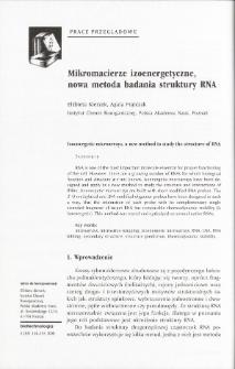 Mikromacierze izoenergetyczne, nowa metoda badania struktury RNA