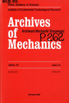 Archives of Mechanics Vol. 54 nr 5-6 (2002)
