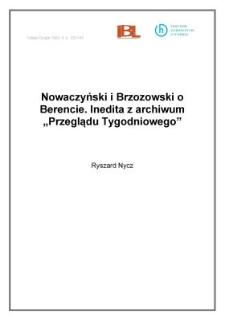 """Nowaczyński i Brzozowski o Berencie. Inedita z archiwum """"Przeglądu Tygodniowego"""""""