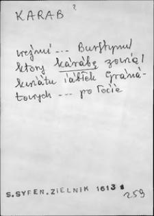 Kartoteka Słownika języka polskiego XVII i 1. połowy XVIII wieku; Karab - Karmicielka