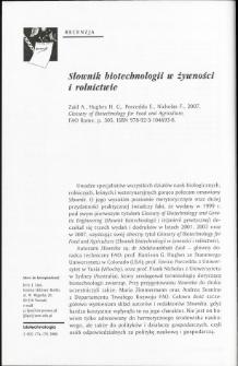 Słownik biotechnologii w żywności i rolnictwie