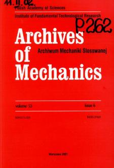 Archives of Mechanics Vol. 53 nr 6 (2001)