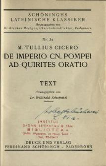 M. Tullius Cicero De impreio Cn. Pompei ad quirites oratio : text
