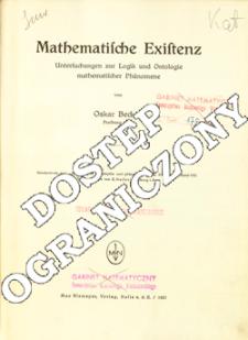 Mathematische Existenz : Untersuchungen zur Logik und Ontologie mathematischer Phänomene