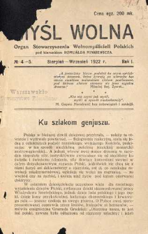 Myśl Wolna : organ Stow. Wolnomyślicieli Polskich, R. 1, No 4-5