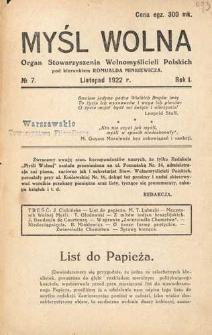 Myśl Wolna : organ Stow. Wolnomyślicieli Polskich, R. 1, Nr. 7