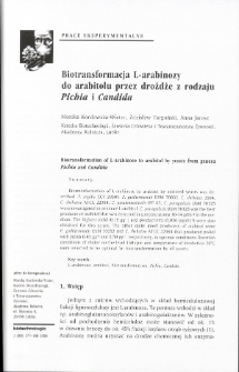 Biotransformation of L-arabinose to arabitol by yeasts from genera Pichia and Candida