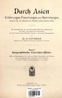 Durch Asien : Erfahrungen, Forschungen und Sammlungen während der von Amtmann Dr. Holderer unternommenen Reise. Bd. 1, Geographische Charakter-Bilder