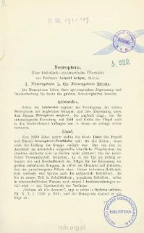 Neuroptera: Eine historisch - systematische Übersicht. I. Neuroptera L. bis Neuroptera Erichs