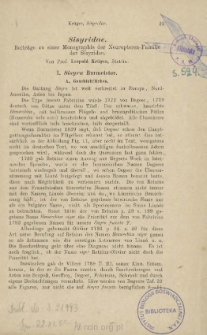 Sisyridae: Beiträge zu einer Monographie der Neuropteren-Familie der Sisyriden