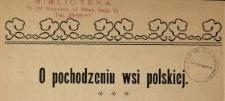 O pochodzeniu wsi polskiej