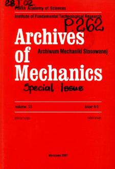 Archives of Mechanics Vol. 53 nr 4-5 (2001)