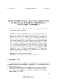 Study of structural and optical properties of TiO2:(Eu, Pd) thin films deposited by magnetron sputtering = Badanie właściwości strukturalnych i optycznych cienkich warstw TiO2:(Eu, Pd) wytwarzanych metodą rozpylania magnetronowego