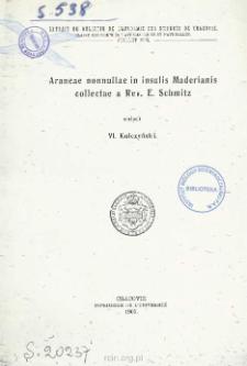 Araneae nonnullae in insulis Maderianis collectae a Rev. E. Schmitz