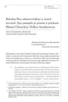 Bolesław Prus odzwierciedlony w swoich rzeczach. Spis pamiątek po pisarzu w przekazie Oktawii Głowackiej i Feliksa Araszkiewicza