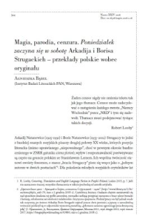 """Magia, parodia, cenzura. """"Poniedziałek zaczyna się w sobotę"""" Arkadija i Borisa Strugackich – przekłady polskie wobec oryginału"""