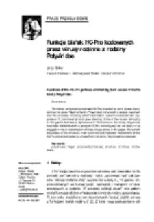 Funkcje białek HC-Pro kodowanych przez wirusy roślinne z rodziny Potyviridae