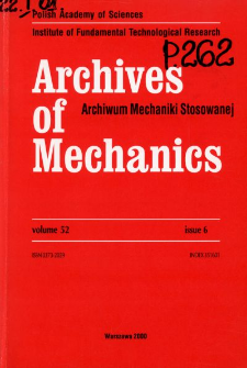 Archives of Mechanics Vol. 52 nr 6 (2000)