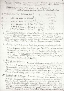 Notatki dotyczące składu mechanicznego i analizy granulometrycznej próbek pobranych ze ściany N [północnej] wykopu, profil odsłonięcia częsci ściany N [północnej] z opisem oraz notatka : zestawienie cech ławic utworu jeziorowego Szeląga