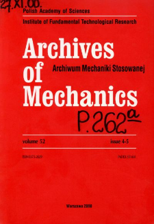 Archives of Mechanics Vol. 52 nr 4-5 (2000)