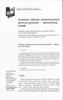 Production of adenoviral vectors of the first generation - optimization of the method