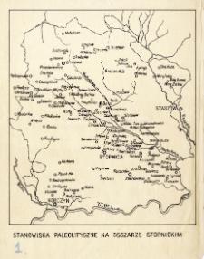 Mapka : stanowiska paleolityczne na obszarze stopnickim