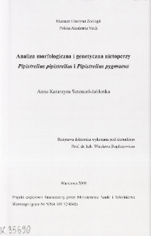Analiza morfologiczna i genetyczna nietoperzy Pipistrellus pipistrellus i Pipistrellus pygmaeus