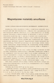 Magnetyczne materiały amorficzne = Amorphous magnetic materials