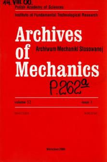Archives of Mechanics Vol. 52 nr 3 (2000)