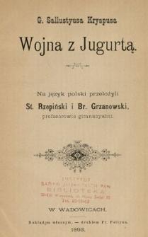 G. Sallustyusa Kryspusa Wojna z Jugurtą