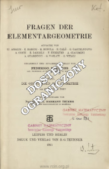 Fragen der Elementargeometrie. T. 1, Die Grundlagen der Geometrie. Table of contents and extras