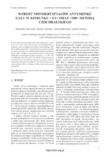 Wzrost monokryształów antymonku galu w kierunku <111> oraz <100> metodą Czochralskiego