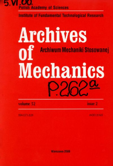 Archives of Mechanics Vol. 52 nr 2 (2000)