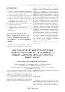 Nowe kompozyty grubowarstwowe o obniżonej temperaturze spiekania przeznaczone na kontakty ogniwa słonecznego = New thick film composites of lower sintering temperature for ohimic contacts for sollar cells