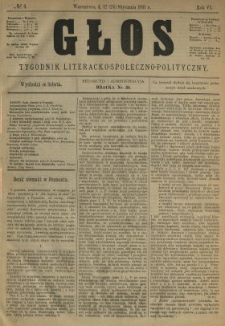Głos : tygodnik literacko-społeczno-polityczny 1891 N.4
