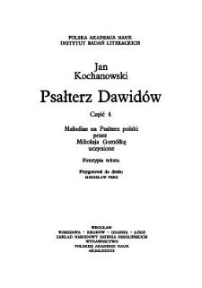 Melodiae na Psałterz polski przez Mikołaja Gomółkę uczynione. Cz. 4