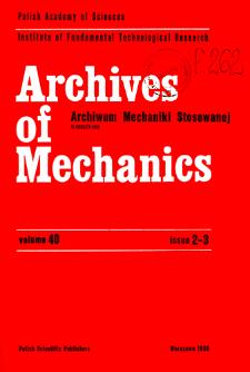 Archives of Mechanics Vol. 40 nr 2-3 (1988)
