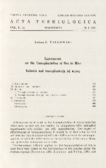 Experiments on the transplantation of ova in mice; Badania nad transplantacją jaj myszy