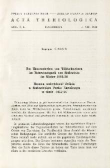 Das Massensterben von Wildschweinen im Naturstaatspark von Białowieża im Winter 1955/56; Masowa śmiertelność dzików w Białowieskim Parku Narodowym w zimie 1955/56