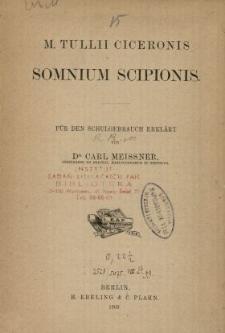 M. Tullii Ciceronis Somnium Scipionis