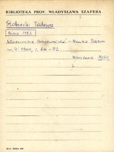 """Kartoteka """"Biblioteka Prof. Władysława Szafera"""" : Sto-Syl"""