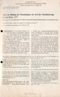Uber die Bildung der Plasmalogene zur Zeit der Myelinisierung bei der Ratte Einbau von 14 C, 32 P-markiertem O-(1- Alkyl-sn-glycerin-3phosphoryl) athanolamin zu verschiedenen Zeitenn